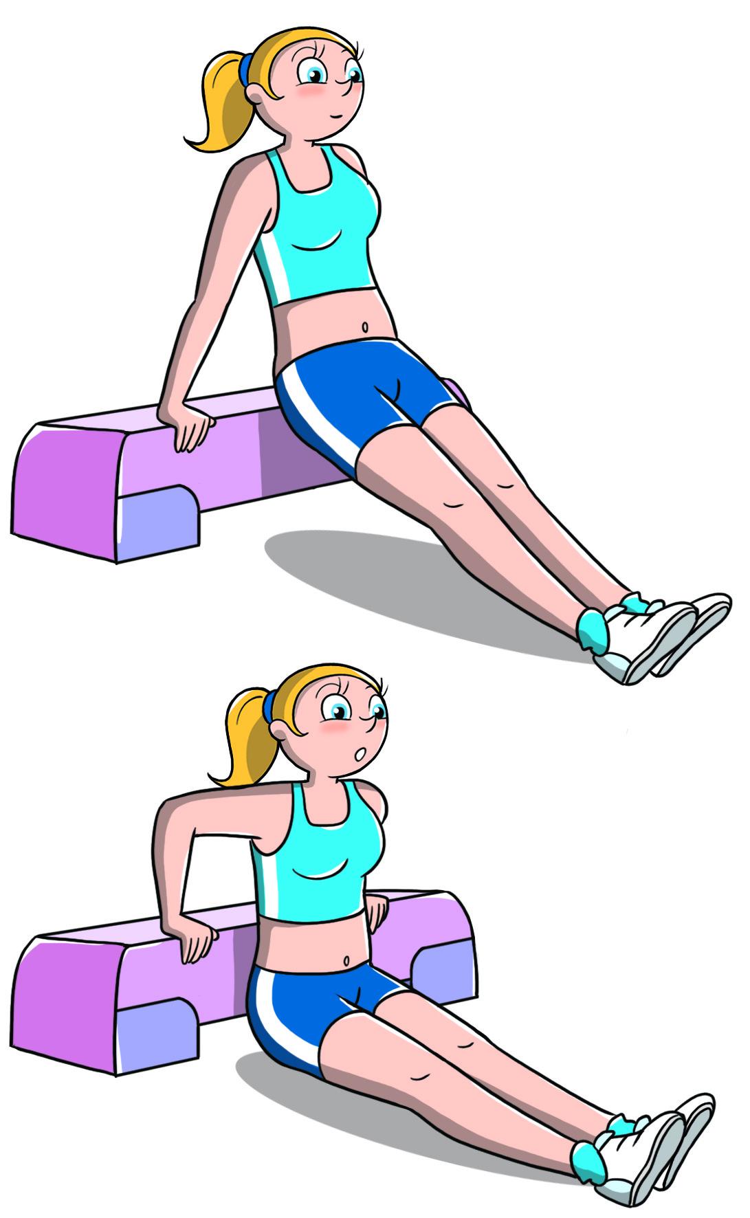 entrenamiento de triceps con step
